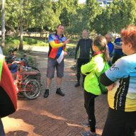 Master Ride Leader and Board member Peter hands out the certificartes