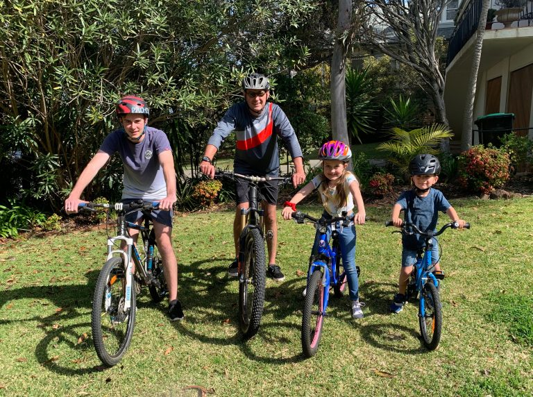 Family on bikes ready for Spring Cycle