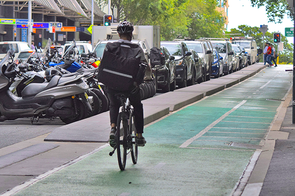 Food delivery rider in dedicated bicycle lane