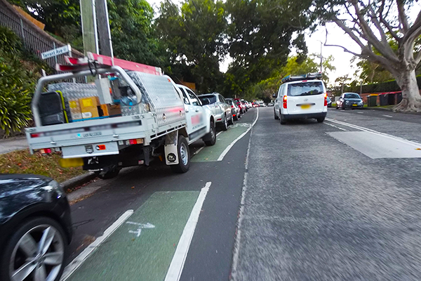 Sydney cycleway in door zone of parked cars