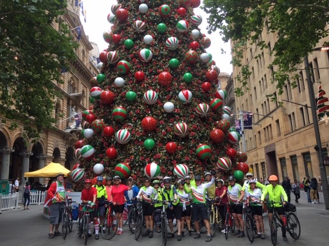 Christmas with Bike Leichhardt in front of Martin Place Christmas Tree