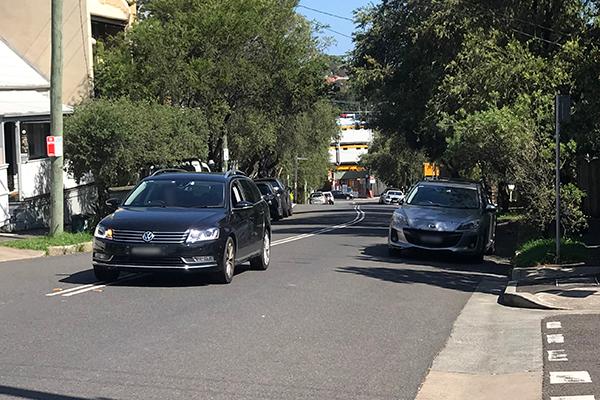 Car over centre lines on Gordon Street, Rozelle