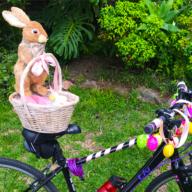 Kids decorating bicycle