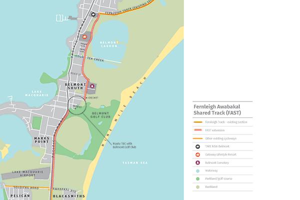 Fernleigh Awabakal Shared Track Extension Map