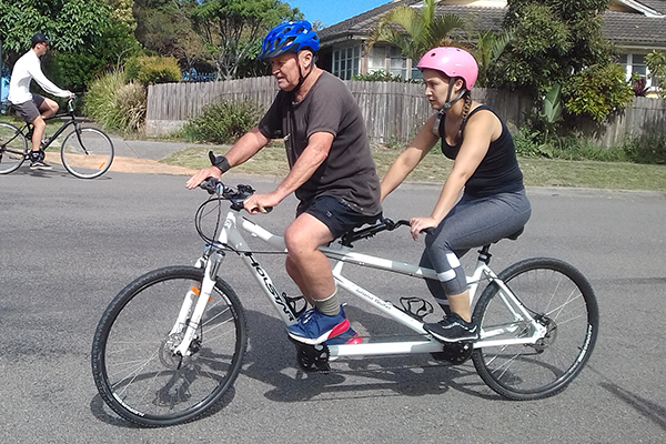 Father and Daughter on Tandem Bike