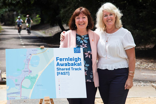 Lake Macquarie City Council, Mayor Kay Fraser and Member for Swansea, Yasmin Catley MP at the Belmont end of the Fernleigh Track