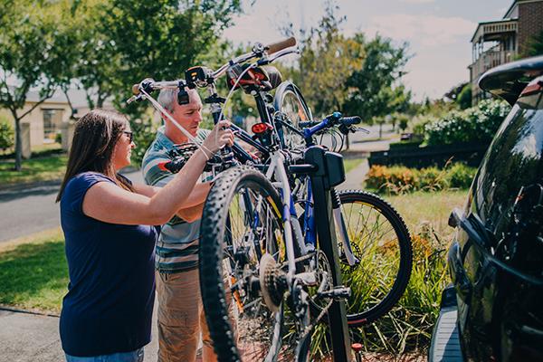 Bike Riders Prepared For Travel