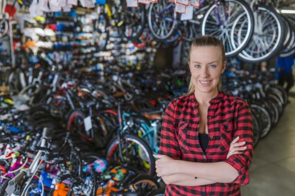Women in bike shop