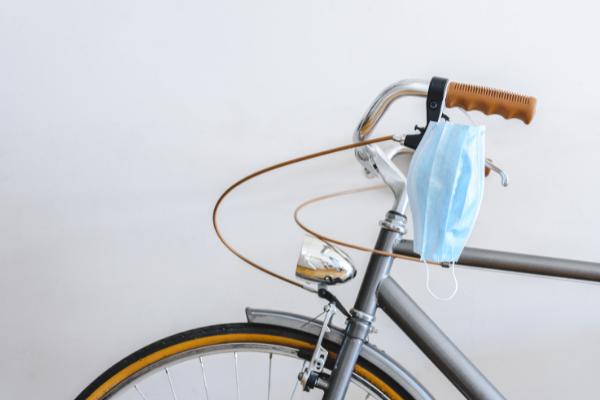 Mask hanging on bike