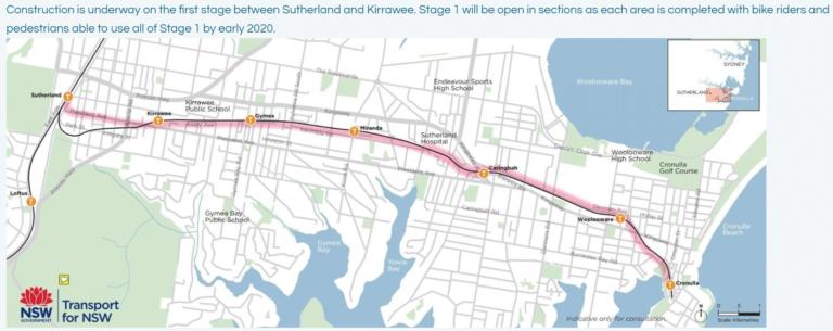 Original safer design for Sutherland to Cronulla Active Transport Link