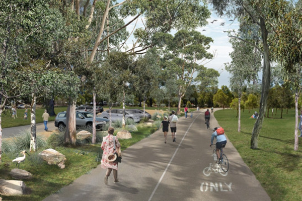 Artist's impression of future view along West Domain Avenue, adjacent to the proposed car