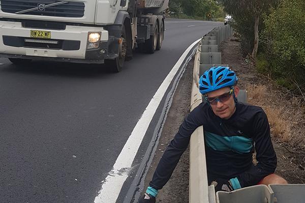 Dangerous road shoulder in the Great Western Highway
