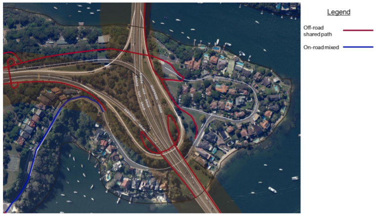 Map of bike connects from Gladesville Bridge