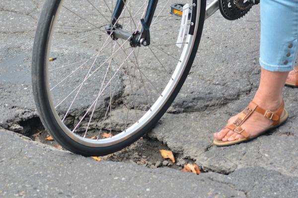 Bike stuck in pothole