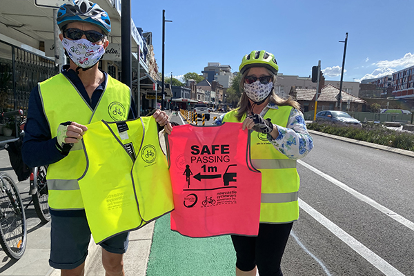 Newcastle Cycleways Movement safety vests for adults and kids