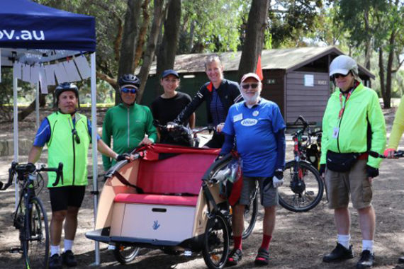Cycling Without Age volunteers display the trishaw