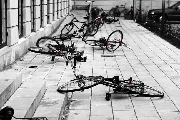 fallen bikes