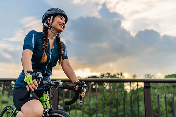Happy female on a bike ride