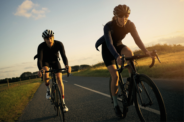 couple cyclists on a morning training ride